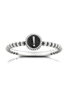 Bixler Alphabet Beaded Shank '!' Ring In Sterling Silver