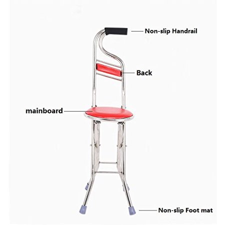 Cane Seat Walking Stick Folding Seat Portable Fishing Rest Stool Walking Cane Heavy Duty Type Light Adjustable Multifunctional Cane Chair for Elder Parents Gift - image 9 of 11