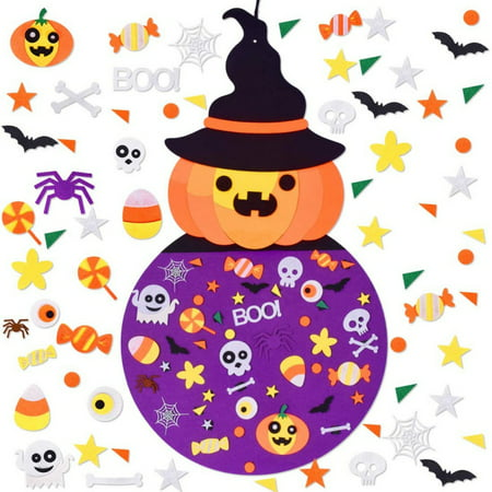Outdoor Halloween Decoration Diy (DIY Halloween Felt Pumpkin Set with Ornaments Wall Hanging Craft Kits for Kids Halloween Party Favor Indoors Outdoors Home)