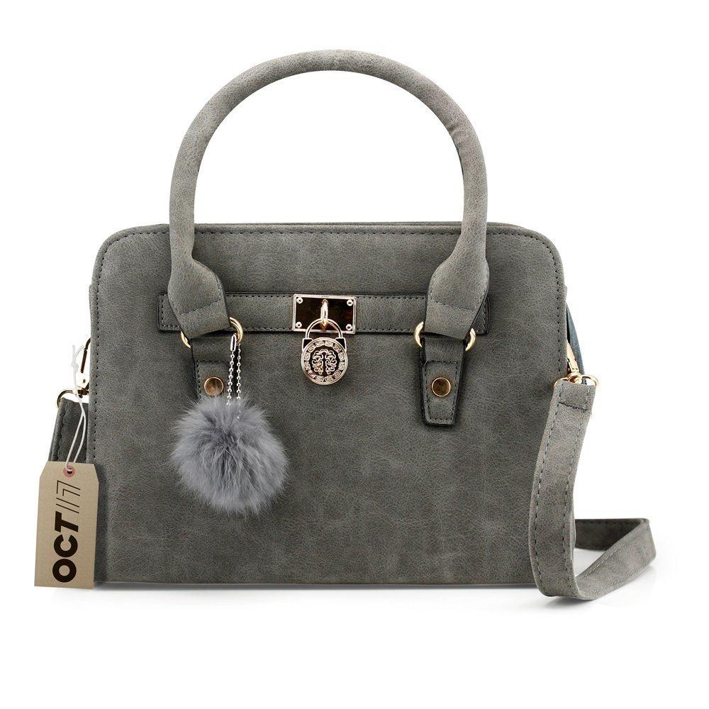 oct 17 lady women lock faux leather tote hobo shoulder bag purse fur ball satchel fashion luxury handbag - gray