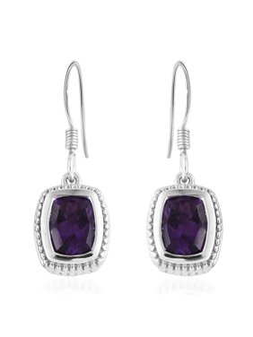 9470c0f0ddd8 Product Image 925 Sterling Silver Platinum Plated Cushion Amethyst Dangle  Drop Earrings Cttw 2.4