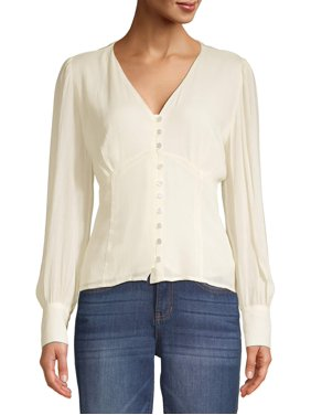 Love Sadie Women's Long Sleeve Button Blouse