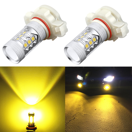 Alla Lighting 5201 5202 LED Bulbs 3000K Amber Yellow Super Bright High Power 3030 SMD LED Fog Lights DRL (Set of 2)