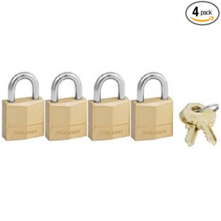 120Q Solid Brass Padlock, 3/4-Inch Wide Body, 5/32-Inch Shackle Diameter, 2-Keys Included, 4-Pack Keyed Alike, PADLOCK APPLICATION: For indoor.., By Master Lock