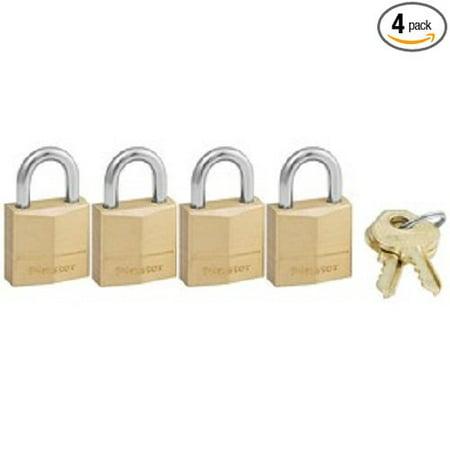 Keyed Alike Padlock 2' Body (120Q Solid Brass Padlock, 3/4-Inch Wide Body, 5/32-Inch Shackle Diameter, 2-Keys Included, 4-Pack Keyed Alike, PADLOCK APPLICATION: For indoor.., By Master Lock)