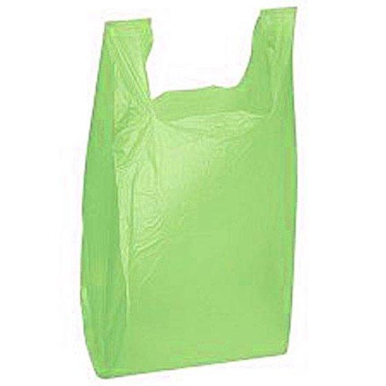 10 1/2W x 5 1/2G x 18H Heavy Duty 18 Micron 0 78 mil Green Plastic T Shirt  Bags/Case of 1000