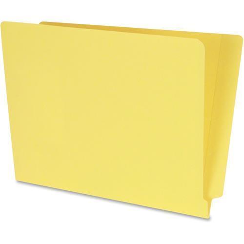 "S13632 SJ Paper WaterShed Cutlass End-tab File Folders - Letter - 8.50"" Width x 11"" Length Sheet Size - Full Tab Cut - End Tab Location - 11 pt. - Wood - Yellow - 100 / Box"