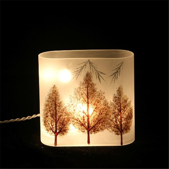 DecorFreak Lighted Glass Jar - Matte Finish With Sparkled Tree I