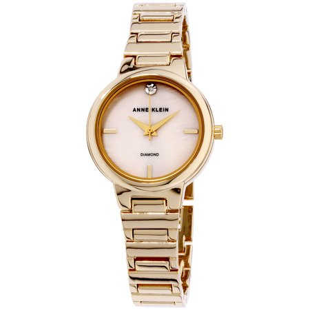 Anne Klein Women's Mother of Pearl Dial Gold-Tone Stainless Steel Watch AK-2440PMGB