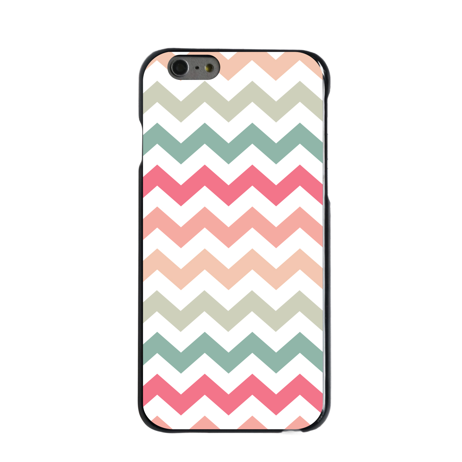 "CUSTOM Black Hard Plastic Snap-On Case for Apple iPhone 6 / 6S (4.7"" Screen) - Pastel Chevron Wave Stripes"