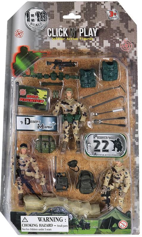 Click N Play Military Dessert Marine Action Figure 22 Piece Accessory Play Set by Click N' Play