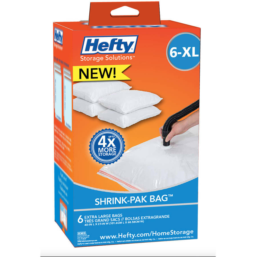 Hefty XL Shrink-Pak Vacuum Seal Bags, 6-Pack