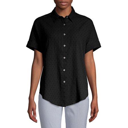 Petite Short-Sleeve Cotton Button-Down Tie-Front