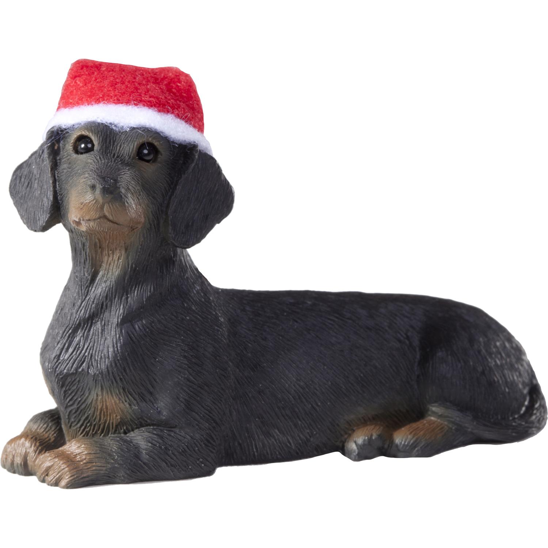 Sandicast Lying Black Dachshund with Santa's Hat Christmas Dog Ornament
