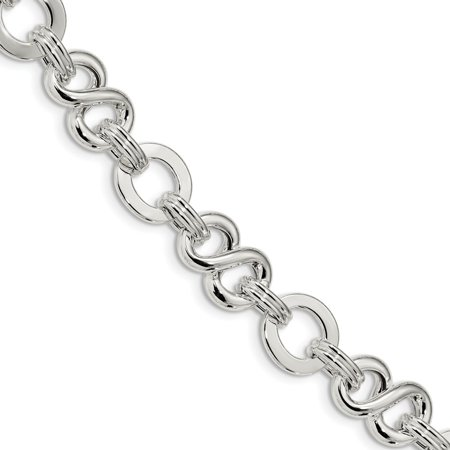 Solid 925 Sterling Silver Polished Infinity Symbol Fancy Link with .5in ext. 7.5in Brace 7.5