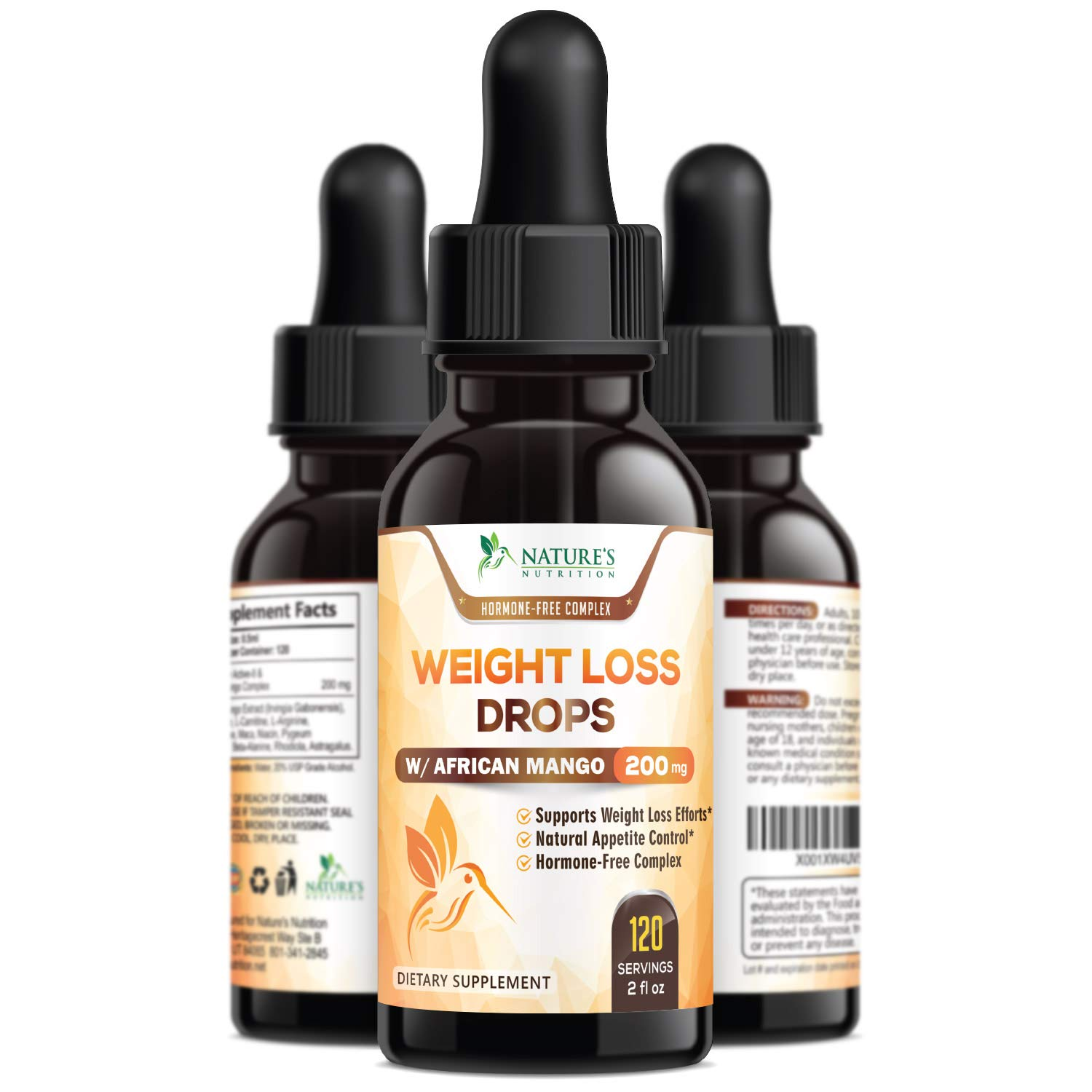 nature's nutrition natural weight loss diet drops max potency african mango  & maca, 1 oz