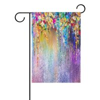 POPCreation Spring Abstract Wisteria Flower Garden Flag Watercolor Painting Outdoor Flag Home Party 28x40 inches