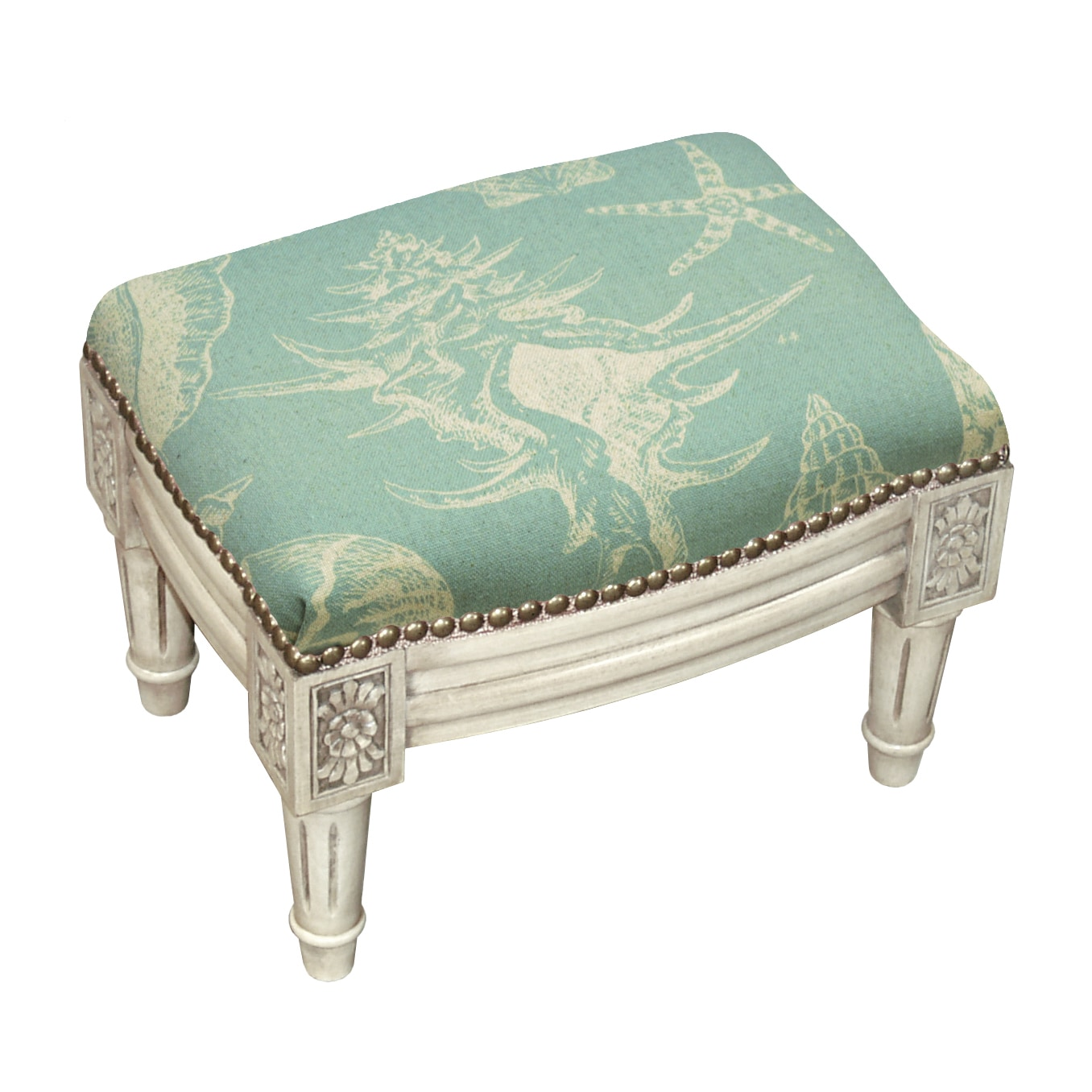 123 Creations Seashells Nail-head Trim Footstool by Overstock