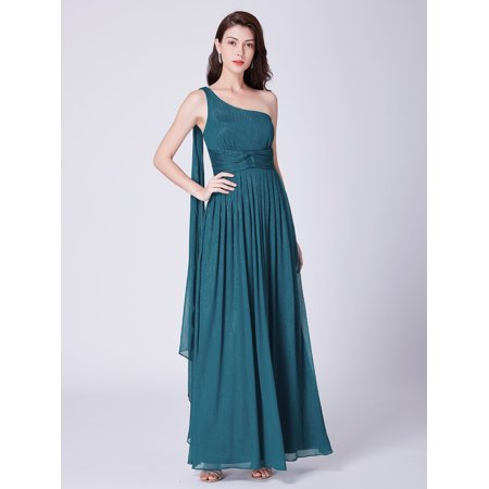 24k Layered (Ever-Pretty Women's Elegant Chiffon One Shoulder Long Bridesmaid Party Wedding Guest Dresses for Women 07474 US)