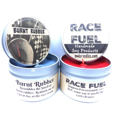 Red Hot Cinnamon Soy Candle (Combo 4 oz Burnt Rubber & 4 oz Race Fuel Soy Candle Tins - Great Gift for Men )