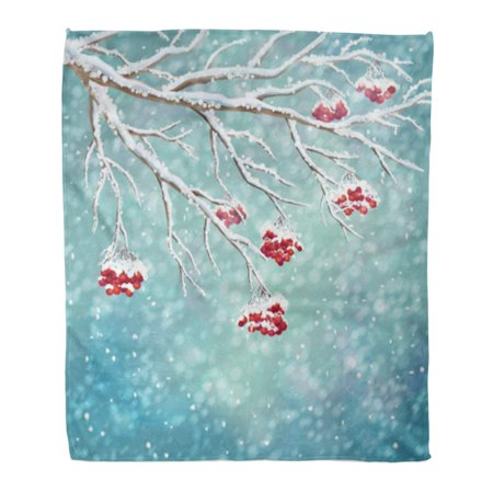 HATIART Throw Blanket Warm Cozy Print Flannel Winter Snow Covered Frozen Tree Branches Rowan Berry Snowfall on Watercolor Comfortable Soft for Bed Sofa and Couch 58x80 Inches - image 1 de 1