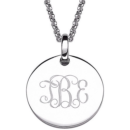 Personalized Women's Sterling Silver Petite Engraved Monogram Pendant, 20""