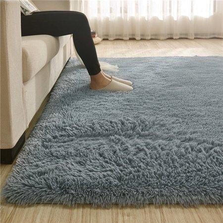 Modern Soft Fluffy Floor Rug Anti-skid Shag Shaggy Area Rug Bedroom Dining Room Carpet Yoga Mat Winter Child Play Mat for $<!---->
