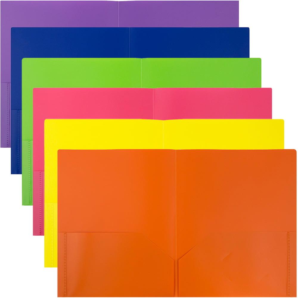 JAM Paper Plastic 2,Pocket Folders, Eco Friendly Folder, Assorted Colors, Pack of 6 Folders