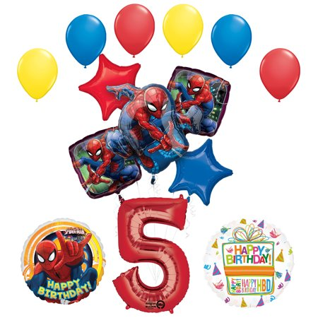 Spiderman Birthday Decorations (The Ultimate Spider-Man 5th Birthday Party Supplies and Balloon)