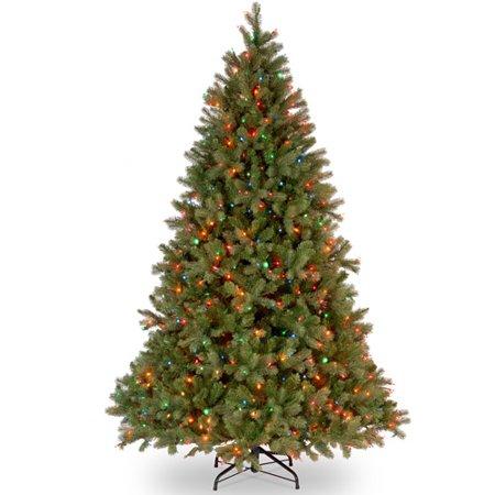 National Tree Pre-Lit 7-1/2' Feel-Real Downswept Douglas Fir Hinged Artificial Christmas Tree with 750 Multi Lights