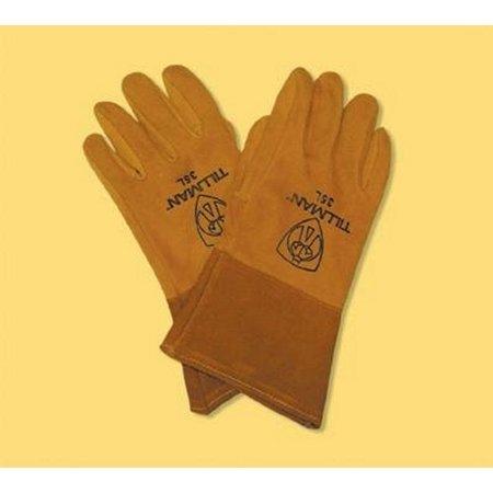 Tillman Medium 12'' Gold Deerskin Cotton/Foam Lined Premium Grade MIG Welders Gloves With Straight Thumb, 4'' Gauntlet Cuff And Kevlar Lock (Deerskin Welding Gloves)