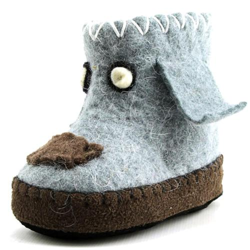 Satch & Sol Pups Infant US 4 Gray Slipper