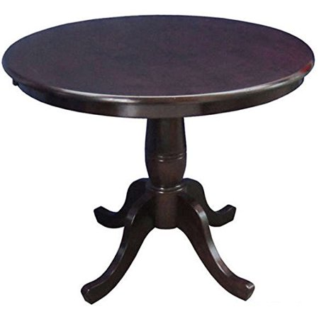 ModHaus Living Country Style 30-inch Wood Round Top Pedestal Base Dining Table - Includes Pen (Rich Mocha)