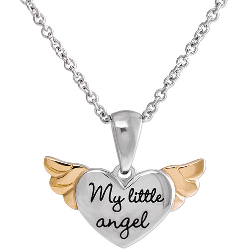 "Connections from Hallmark Girls' Stainless Steel Two-Tone ""My little angel"" Heart with Wings Pendant"