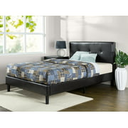 "Zinus Kitch 34"" Faux Leather Detail-Stitched Platform Bed, King"