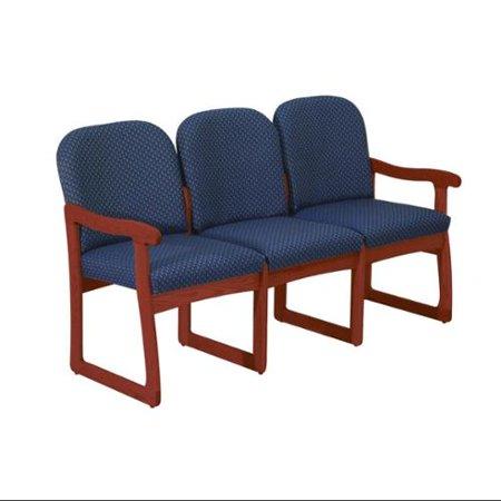 Solid Wood Office Sofa w Dark Red Mahogany Finish & Upholstered Seats (Blue Vinyl)