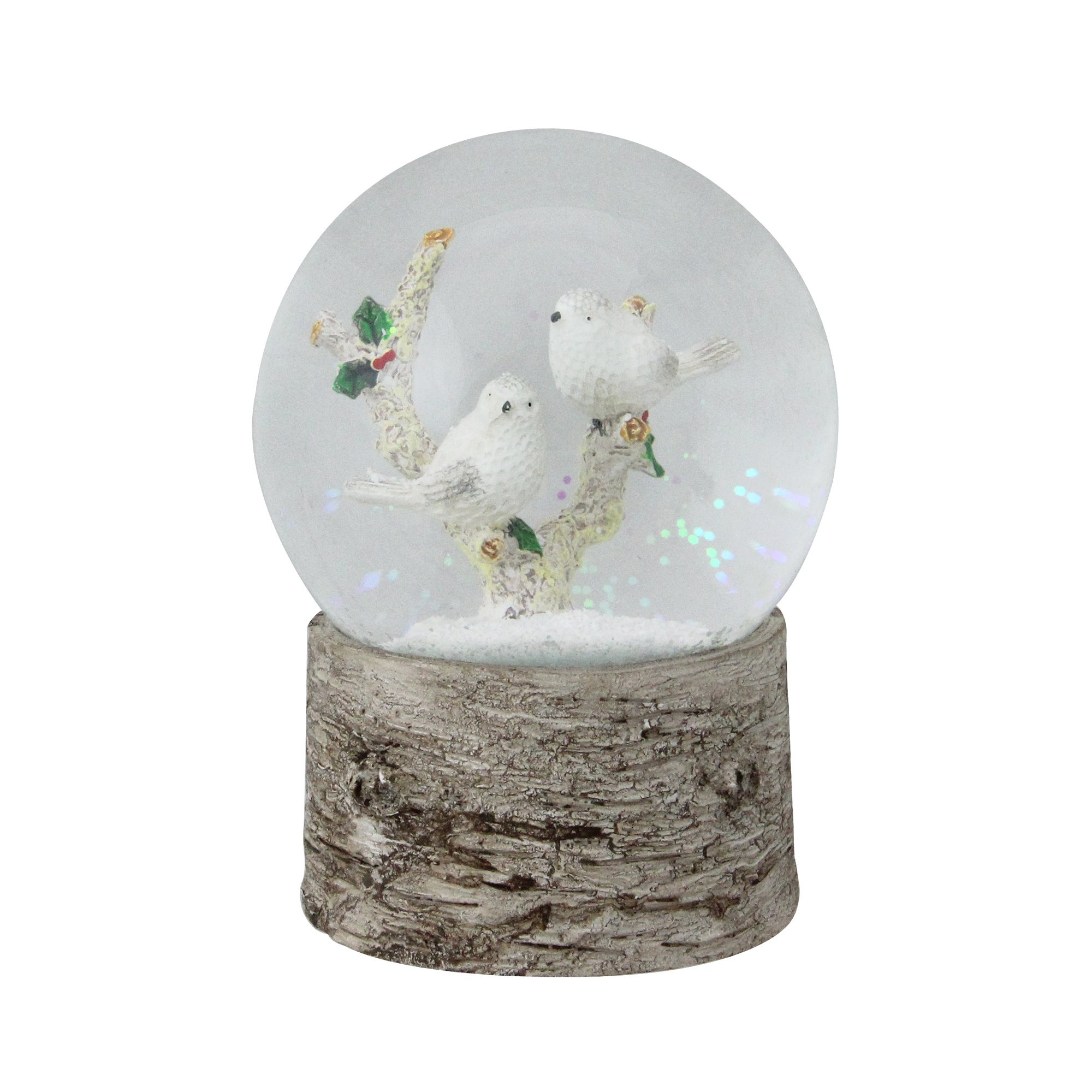 """5.5"""" Musical White Doves on a Branch Christmas Snow Globe"""