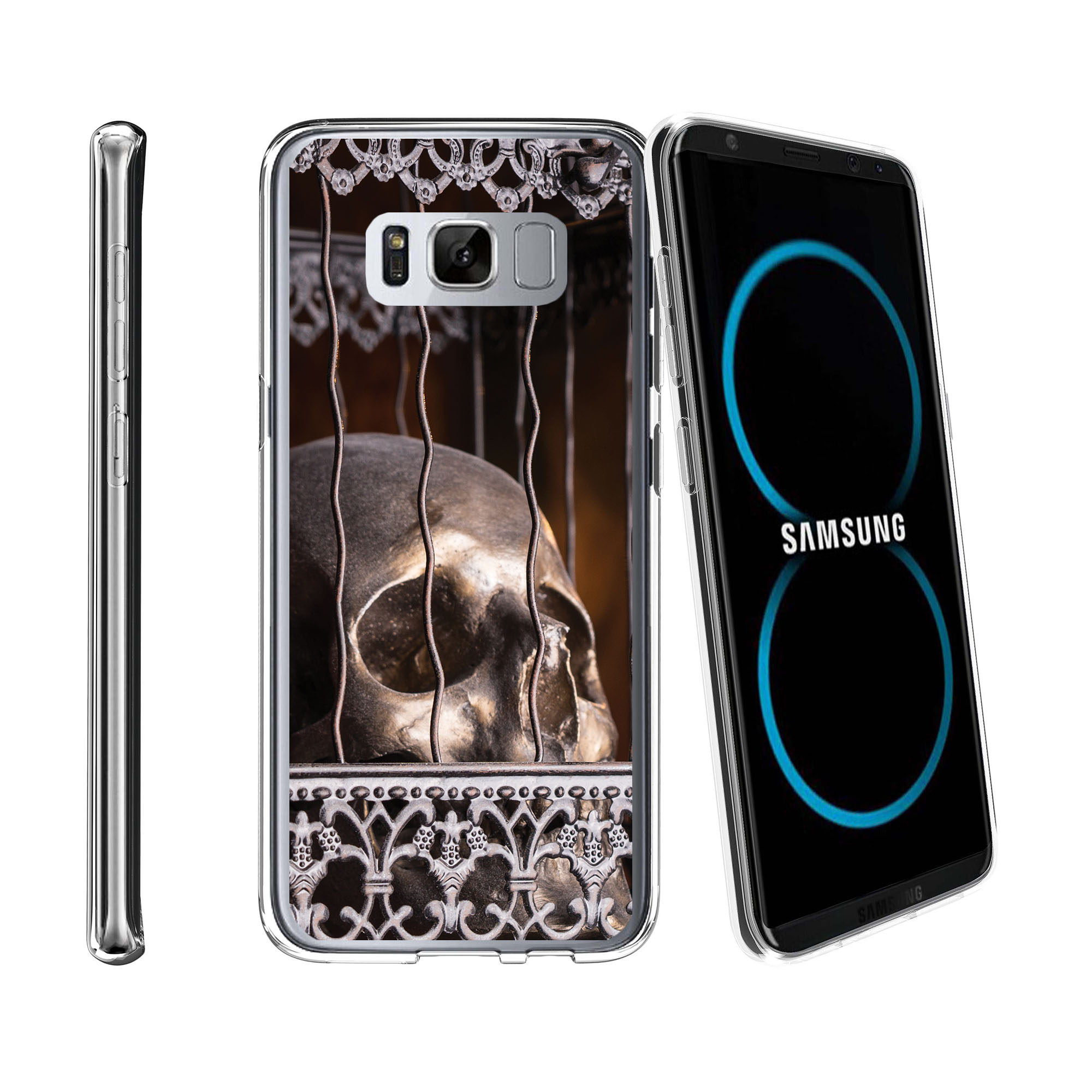 Case for Samsung Galaxy S8 Plus | Galaxy S8 Plus Transparent Silicone Case [ Flex Force ] Flexible Clear Case Skull Collection