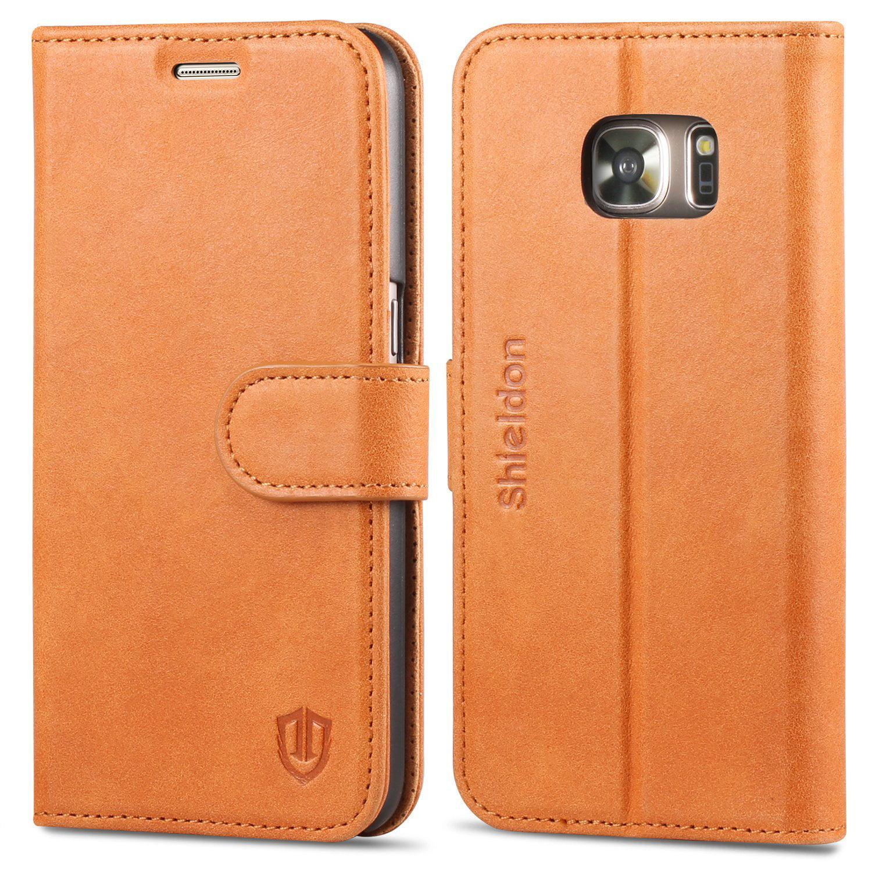 super popular 1ab0d 5e575 Galaxy S7 Case, SHIELDON Genuine Leather Wallet Case Premium Slim ...