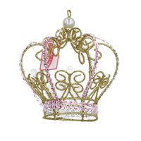 Holiday Time Pink & Gold Crown Ornament