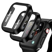 [2 Pack] Compatible for Apple Watch 38mm Series3/2/1 Tempered Glass Screen Protector with Hard Black Case, YMHML Full Coverage Easy Installation Bubble-Free Cover for iWatch Accessories