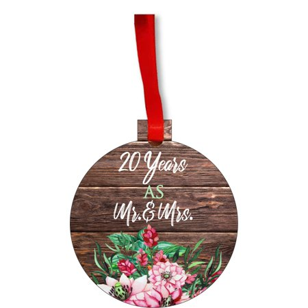 Ornament 20th Anniversary - 20 Years as Mr. and Mrs. Round Shaped Flat Hardboard Christmas Ornament Tree Decoration - Unique Modern Novelty Tree Décor Favors ()