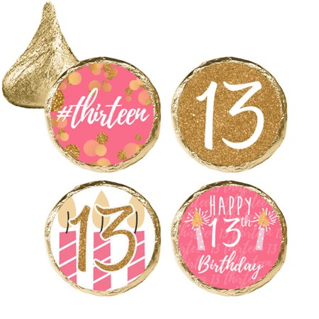 pink and gold 13th birthday stickers 324ct 13th birthday party