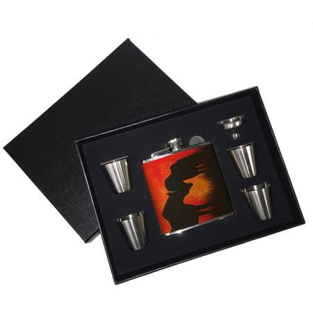 - KuzmarK 6 oz. Leather Flask Set in Black Presentation Box -  Warmblood Horse and Shetland Pony at Twilight Abstract Horse Art by Denise Every