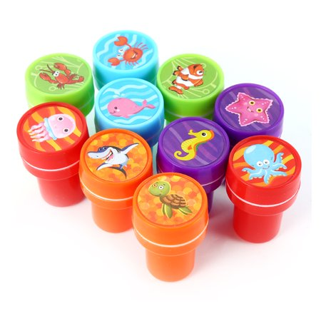 10 PCs Assorted Sea Animals Stamps Kids Party Favors Event Supplies for Birthday Party Gift,Rubber stamp