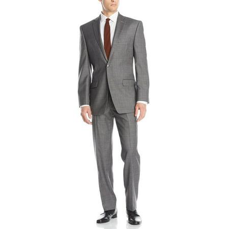 LN LUCIANO NATAZZI Men's Two Button Malik Stripe Suit Modern Fit 2 Piece Set Gray