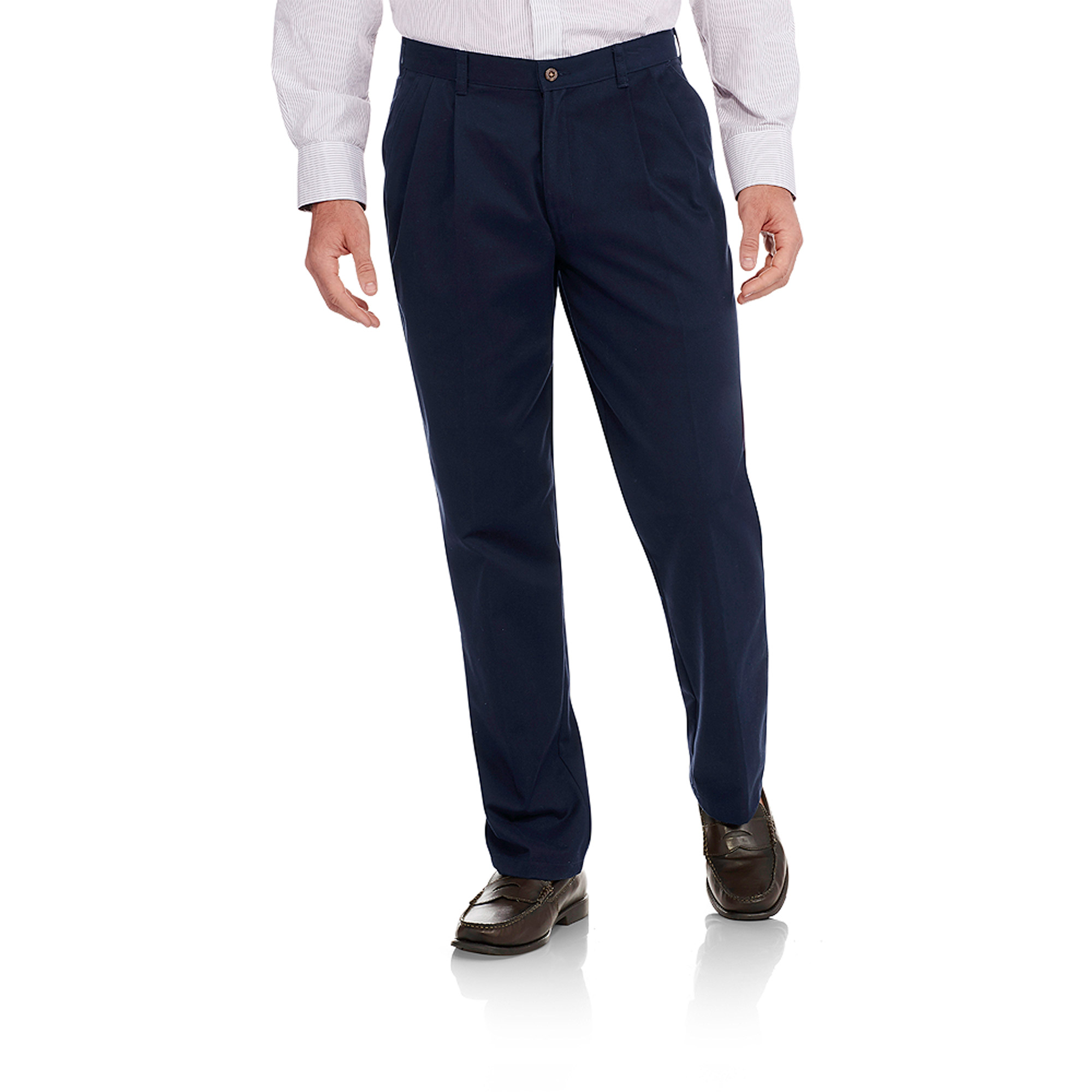 Men's Wrinkle Resistant Pleated 100% Cotton Twill Pant with Scotchgard