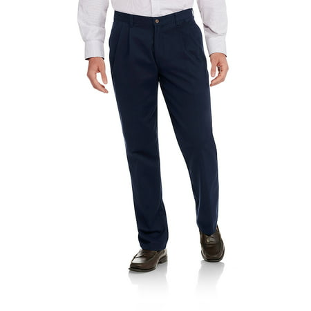 aa8f2eafa538 George - Men s Wrinkle Resistant Pleated 100% Cotton Twill Pant with  Scotchgard - Walmart.com