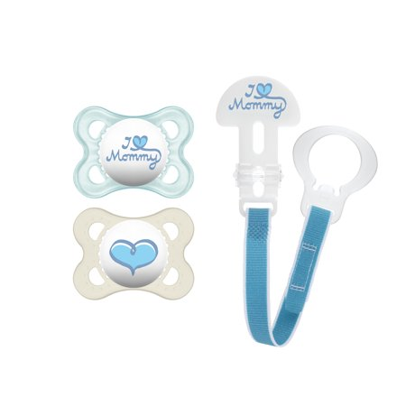 MAM Pacifiers and Baby Pacifier Clip, Baby Pacifier 0-6 Months and Baby Pacifier Clip, Best Pacifier for Breastfed Babies, I Love Mommy