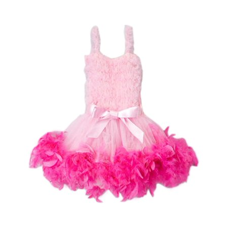 Girls Pink Hot Pink Feathery Bow Accent Flower Girl Dress 12M-7 (Girls Hot Pink Dresses)